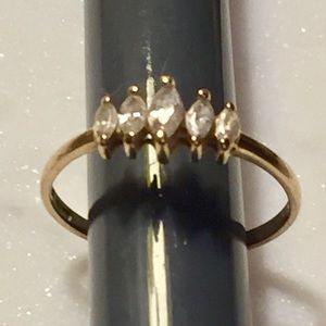 18 K Gold 5 Stone CZ  Marquise Ring